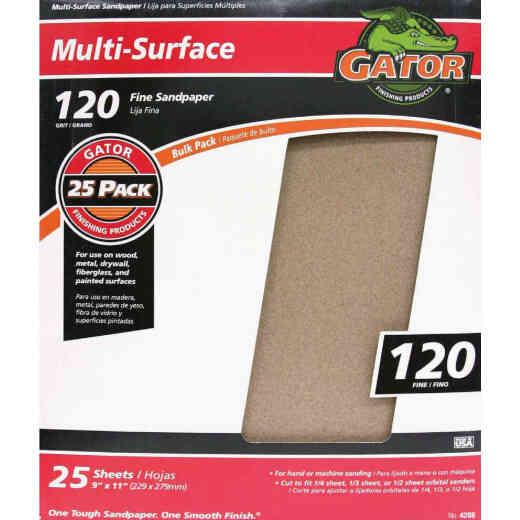 Gator Multi-Surface 9 In. x 11 In. 120 Grit Fine Sandpaper (25-Pack)