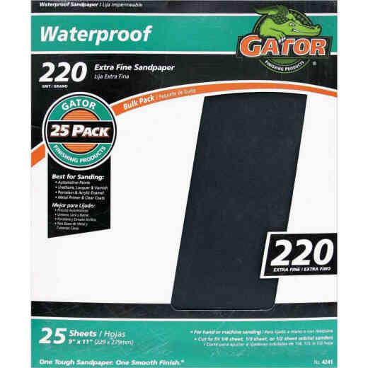 Gator Waterproof 9 In. x 11 In. 220 Grit Extra Fine Sandpaper (25-Pack)