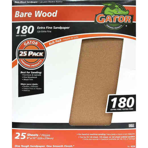 Gator Bare Wood 9 In. x 11 In. 180 Grit Extra Fine Sandpaper (25-Pack)