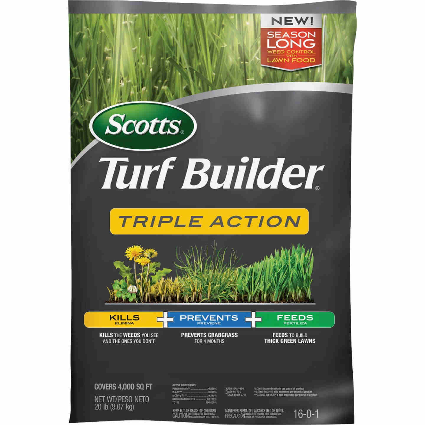 Scotts Turf Builder Triple Action 20 Lb. 4000 Sq. Ft. Lawn Fertilizer with Weed Killer Image 1