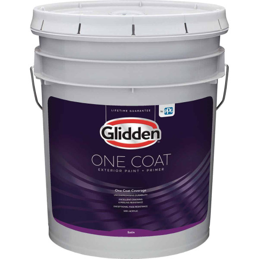 Glidden One Coat Exterior Paint + Primer Satin White & Pastel Base 5 Gallon