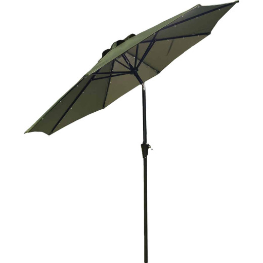 Outdoor Expressions 9 Ft. Aluminum Tilt/Crank Heather Green Patio Umbrella with Solar LED Lights